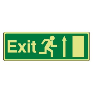 Photoluminescent EC Exit Arrow Up Sign with text