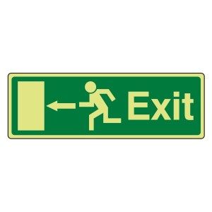Photoluminescent EC Exit Arrow Left Sign with text