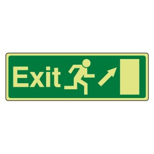 Photoluminescent EC Exit Arrow Up Right Sign with text
