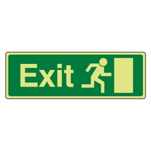 Photoluminescent EC Final Exit Man Right Sign with text