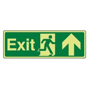 Photoluminescent Exit Arrow Up Sign