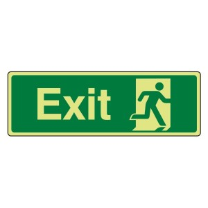 Photoluminescent Final Exit Man Right Sign