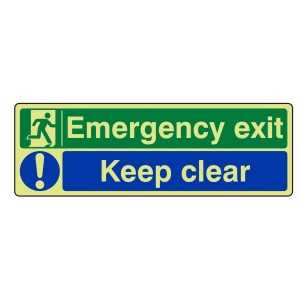 Photoluminescent Emergency Exit / Keep Clear Sign