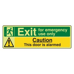 Photoluminescent Exit For Emergency Use Only / Door Alarmed Sign