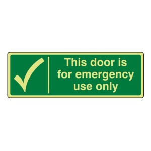 Photoluminescent Door For Emergency Use Only Sign