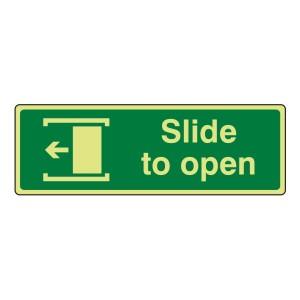 Photoluminescent Slide To Open Sign (left)