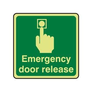 Photluminescent Emergency Door Release Sign