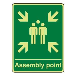 Photolunimescent Assembly Point Sign (Portrait)