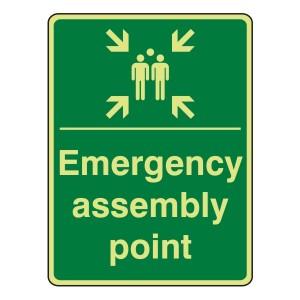 Photoluminescent Emergency Assembly Point Sign (Portrait)