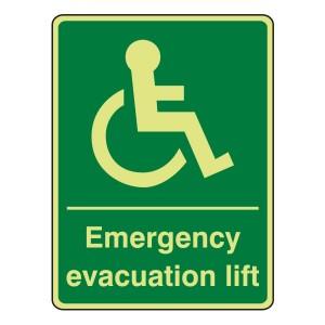 Photoluminescent Emergency Evacuation Lift Sign (Portrait)