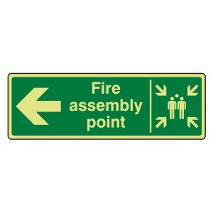 Photoluminescent Fire Assembly Point Arrow Left Sign