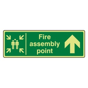 Photoluminescent Fire Assembly Point Arrow Up Sign
