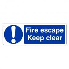 Fire Escape Keep Clear Sign (Landscape)